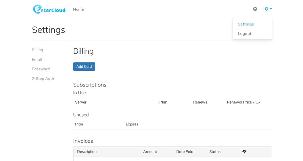 Register to EnterCloud Control Panel